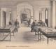 Exposition consacrée à la falunière de Grignon dans le vestibule du château. Vraisemblablement vers 1900. Photo ancienne éditée en carte postale, voir photo suivante.