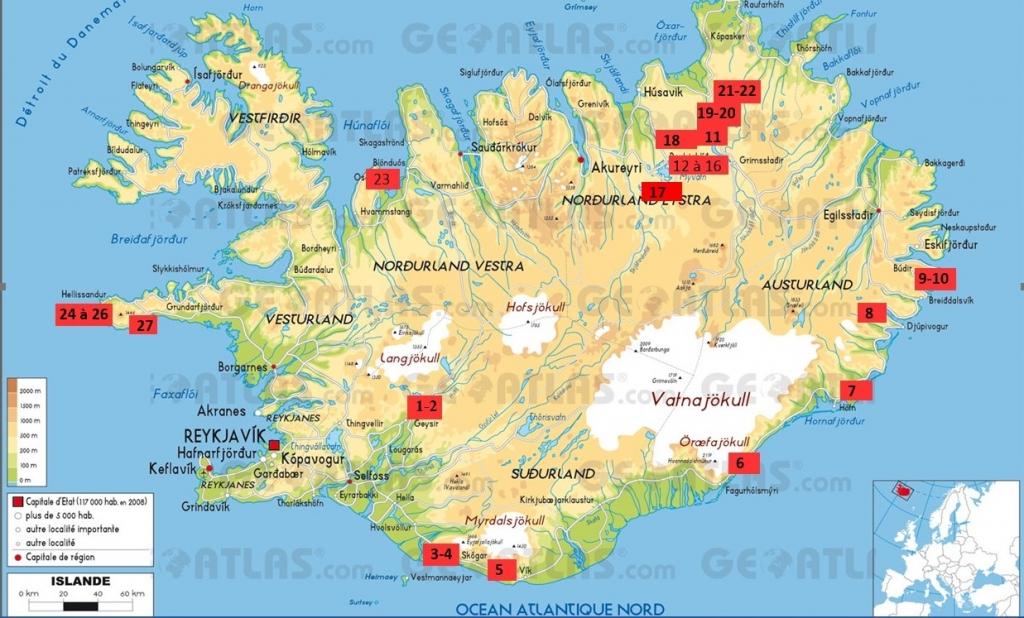 Carte d'Islande avec localisation des prises de vue - crédit Géoatlas, Graphi-ogre