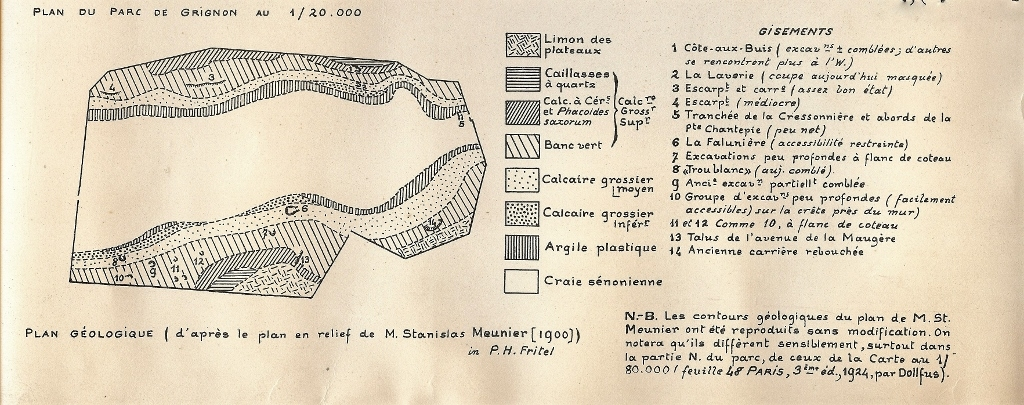 Plan géologique du parc de Grignon. Fritel d'après le plan relief de Stanislas Meunier 1900