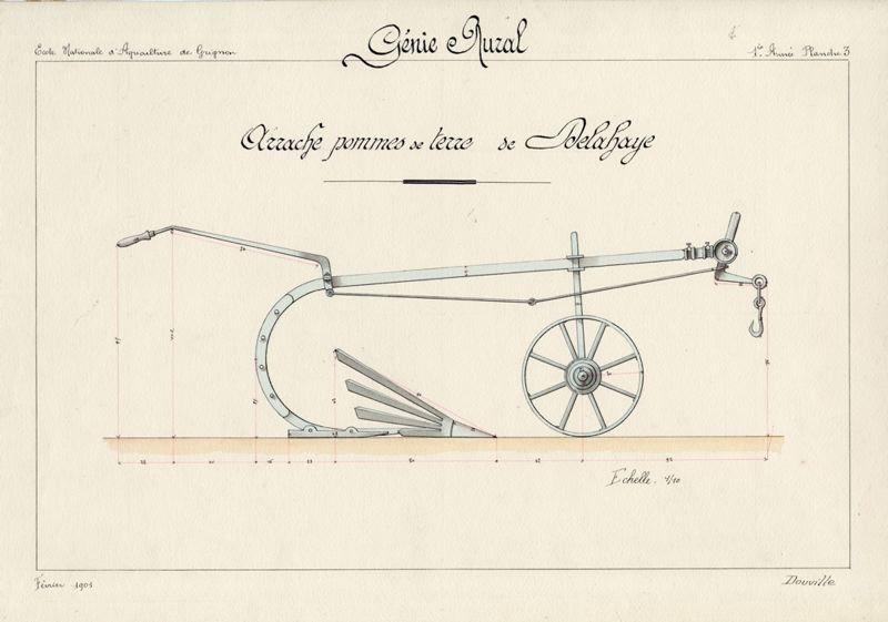 Arrache pommes de terre de Delahaye. Dessin effectué en 1904 par un élève de l'Institut agronomique de Grignon. Site internet du Conservatoire de l'agriculture - Chartres (28)