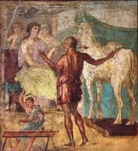 Dédale présentant la vache en bois à Pasiphaé - maison des Vettii, Pompéi  (1er siècle)