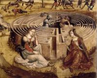 Ariane, Thésée et le minotaure - Maitre des Cassoni Campana (début XVIème siècle)