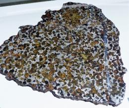Pallasite. Assemblage de métal et d'olivine suite à l'impact entre un astéroïde métallique et le fragment de manteau d'un autre gros astéroïde. 'Springwater'  Canada en 1931