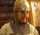 Jean essayant une nouvelle tenue de protection (casque et cotte de maille) pour ... escalade dans le Saussois