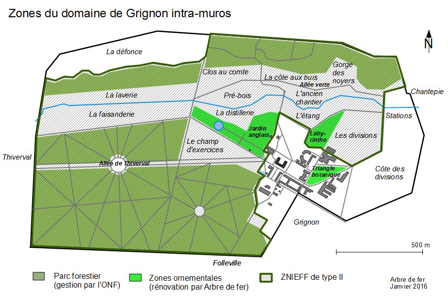 Plan des zones du parc en 2016 par l'association de l'Arbre de Fer