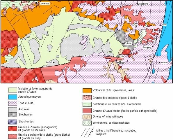 Schéma structural du Bassin stéphano-permien d'Autun-Epinac d'après carte d'Epinac 1/50000 du BRGM -1999- par Alain Gallien Lithothèque Bourgogne, Académie de Dijon