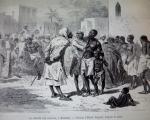 Le marché aux esclaves à Zanzibar - Dessin Emile Bayard (1860) - Musée de la Compagnie des Indes in Wiki