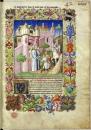 """Frontispice  de \"""" le devisement du monde \""""  recueil manuscrit enluminé réalisé par  l\'enlumineur Le Maître de la Mazarine à l'attention de Jean sans Peur vers 1410-1412  – BNF"""