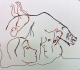 Bloc de calcaire figurant un ours, une tête de cheval, 2 têtes humaines et 1 silhouette de femme - expo temporaire l'ours dans l'art préhistorique