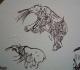 Gravure figurant des ours blessés - Magdalénien - Ariège - Expo temporaire l'ours dans l'art préhistorique